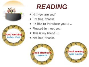 READING Good morning Before 12:00 Good afternoon 12:00-18:00 Good evening 18: