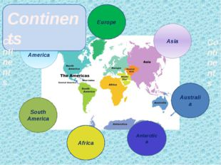 North America Antarctica Europe Asia Australia Continents Africa South Americ