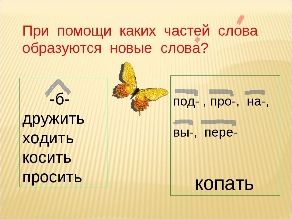 При помощи каких частей слова образуются новые слова? -б-дружить ходить косит...