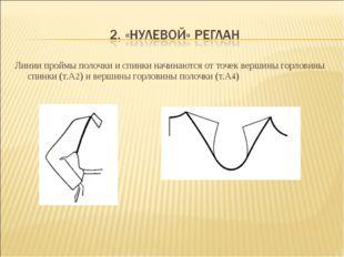 Линии проймы полочки и спинки начинаются от точек вершины горловины спинки (т