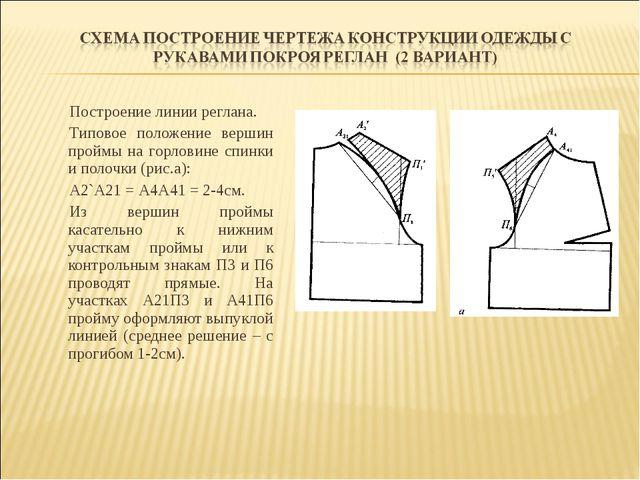 Построение линии реглана. Типовое положение вершин проймы на горловине спинки...