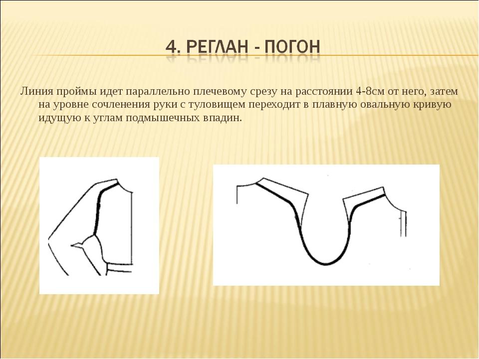 Линия проймы идет параллельно плечевому срезу на расстоянии 4-8см от него, за...