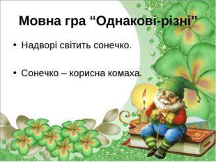 """Мовна гра """"Однакові-різні"""" Надворі світить сонечко. Сонечко – корисна комаха."""