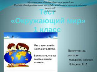 Тест «Окружающий мир» 1 класс Подготовила учитель младших классов Лебедева Н.
