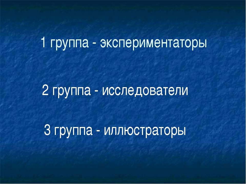 1 группа - экспериментаторы 2 группа - исследователи 3 группа - иллюстраторы