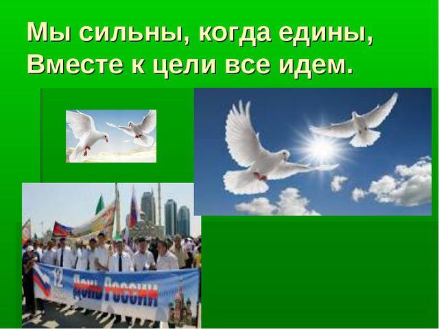 Мы сильны, когда едины, Вместе к цели все идем.