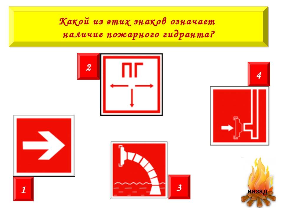 Какой из этих знаков означает наличие пожарного гидранта? 2 4 1 3