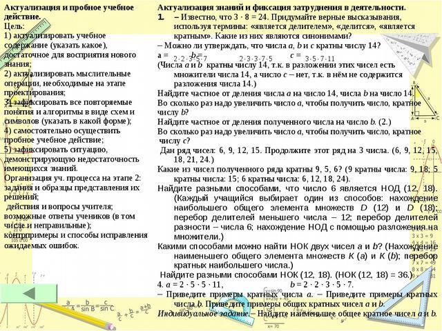 Актуализация и пробное учебное действие. Цель: 1) актуализировать учебное сод...