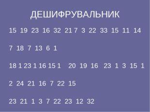 ДЕШИФРУВАЛЬНИК 15 19 23 16 32 21 7 3 22 33 15 11 14 7 18 7 13 6 1 18 1 23 1 1
