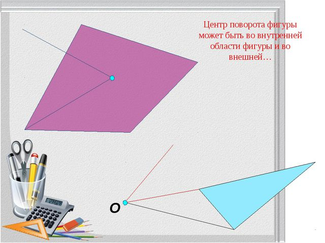 O Центр поворота фигуры может быть во внутренней области фигуры и во внешней...