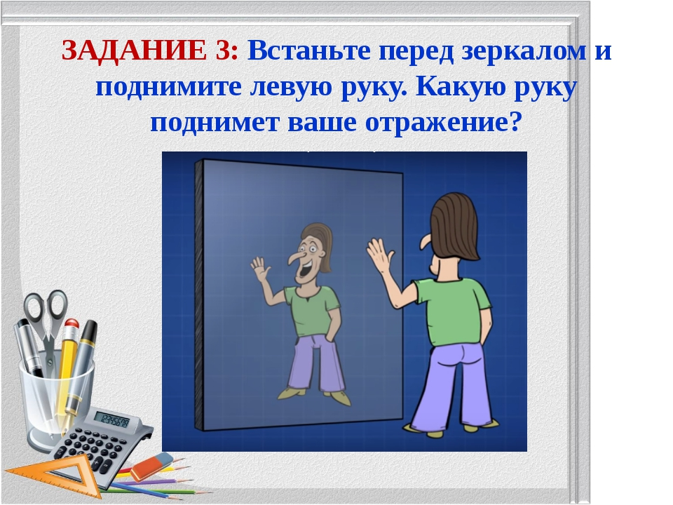 ЗАДАНИЕ 3: Встаньте перед зеркалом и поднимите левую руку. Какую руку подниме...