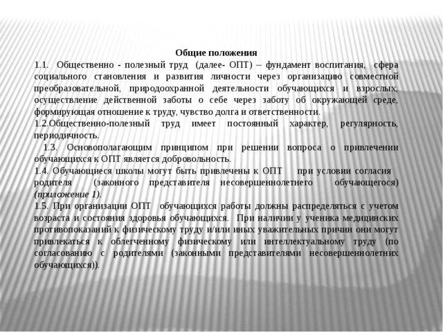 Общие положения 1.1. Общественно - полезный труд (далее- ОПТ) – фундамент вос...