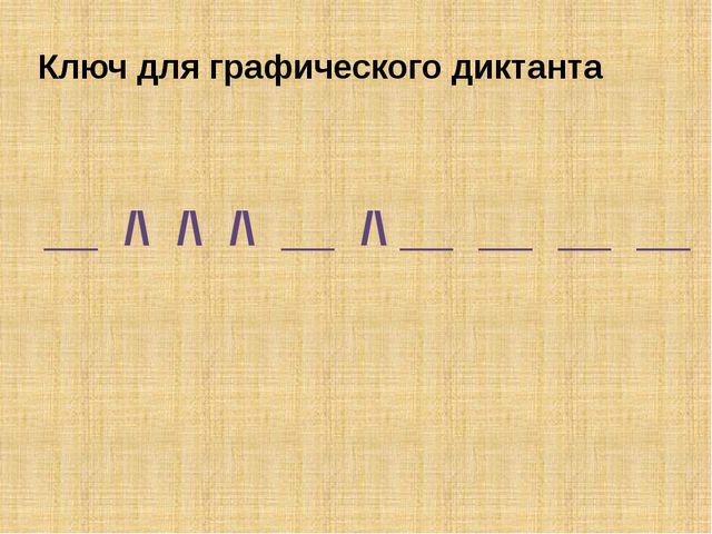 Ключ для графического диктанта __ /\ /\ /\ __ /\ __ __ __ __