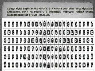 Среди букв спрятались числа. Эти числа соответствует буквам в алфавите, если