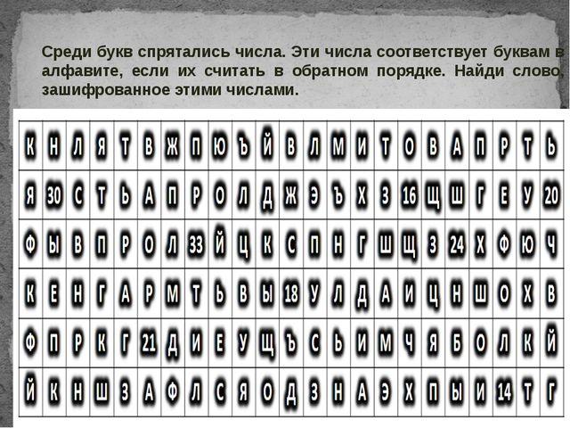 Среди букв спрятались числа. Эти числа соответствует буквам в алфавите, если...
