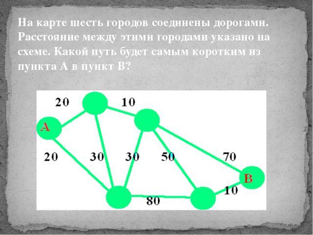 На карте шесть городов соединены дорогами. Расстояние между этими городами ук...