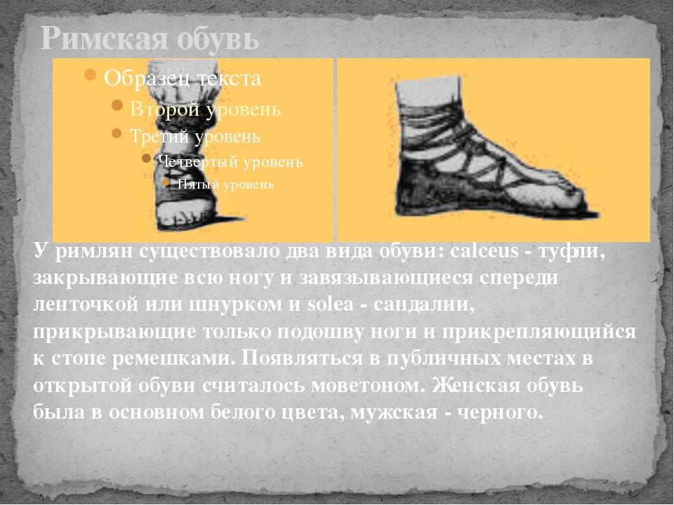 Римская обувь У римлян существовало два вида обуви: calceus - туфли, закрываю...