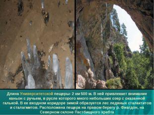 Длина Университетской пещеры- 2 км 500 м. В ней привлекает внимание каньон с