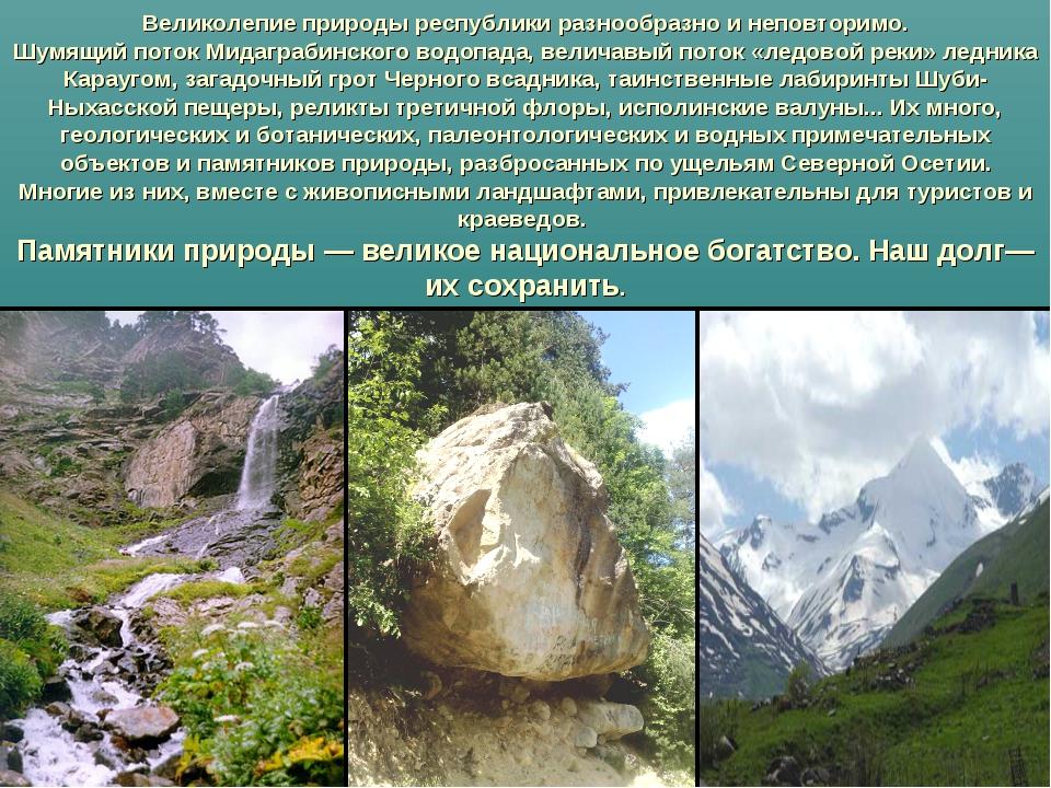 Великолепие природы республики разнообразно и неповторимо. Шумящий поток Мид...