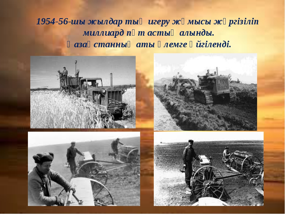1954-56-шы жылдар тың игеру жұмысы жүргізіліп миллиард пұт астық алынды. Қаза...