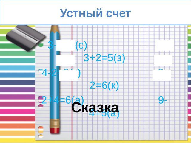 Устный счет 3-2=1(с) 3+2=5(з) 4-2=2(к) 8-2=6(к) 2+4=6(а) 9-4=5(а) Сказка