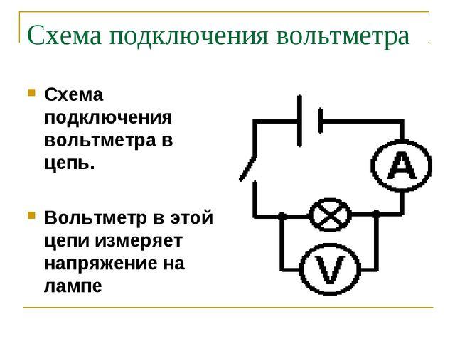 Схема подключения вольтметра Схема подключения вольтметра в цепь. Вольтметр в...