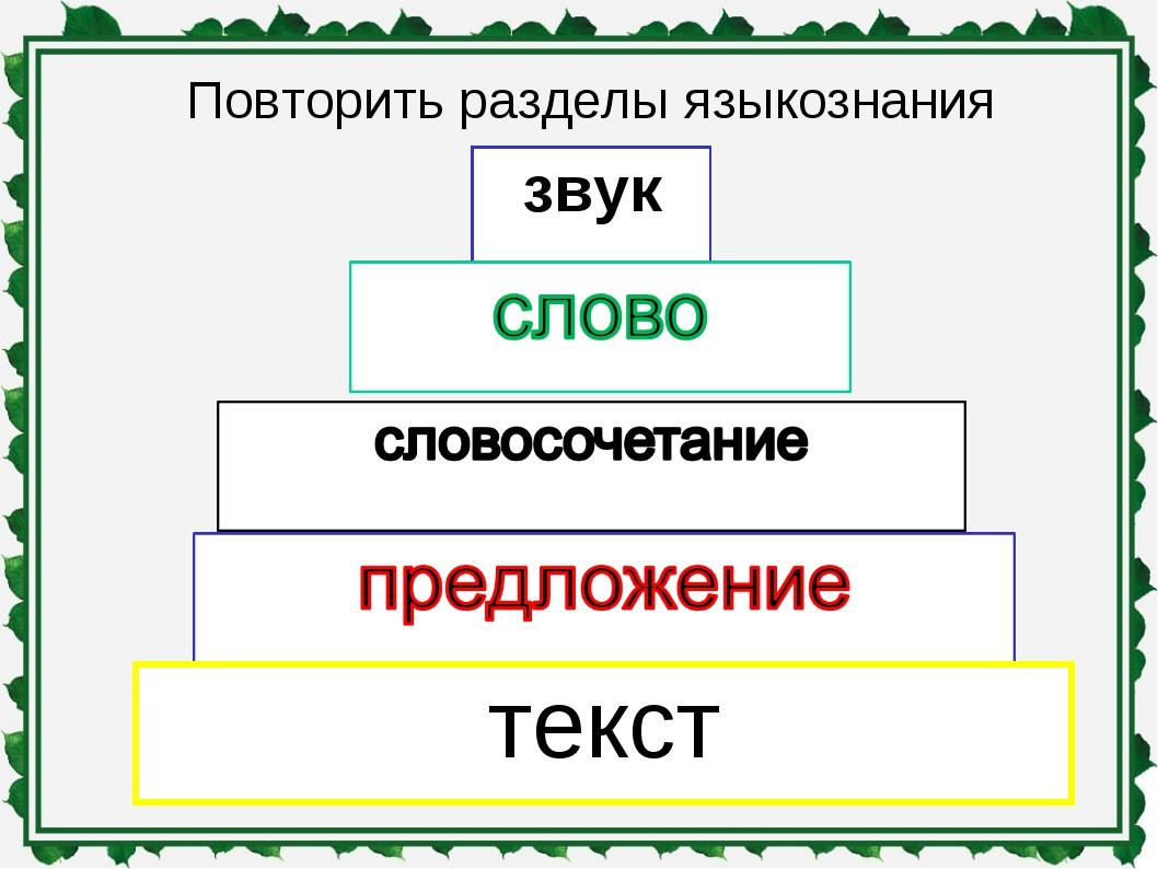 Повторить разделы языкознания звук текст