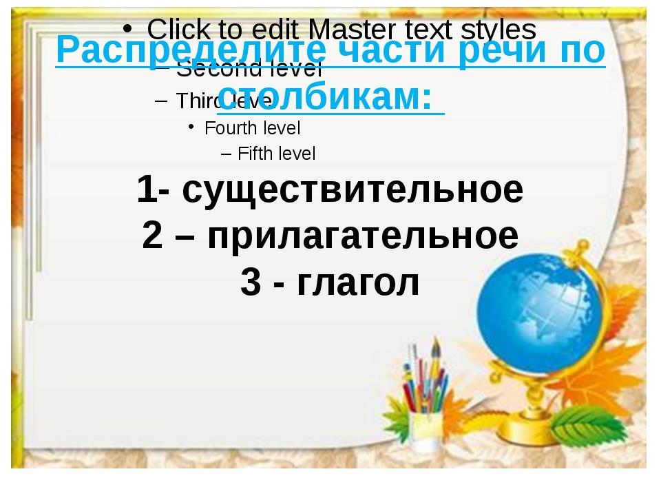 Распределите части речи по столбикам: 1- существительное 2 – прилагательное 3...