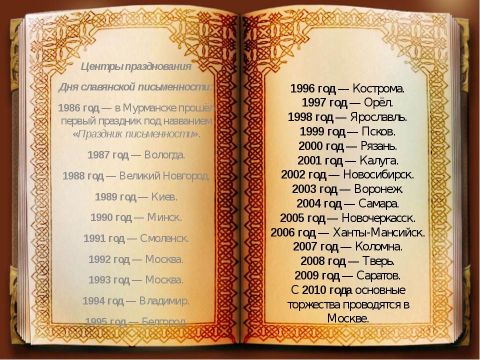 Центры празднования Дня славянской письменности: 1986 год — в Мурманске прошё...