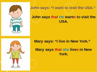 "John says: ""I want to visit the USA."" John says that He wants to visit the US"