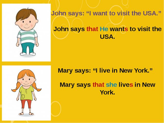 "John says: ""I want to visit the USA."" John says that He wants to visit the US..."