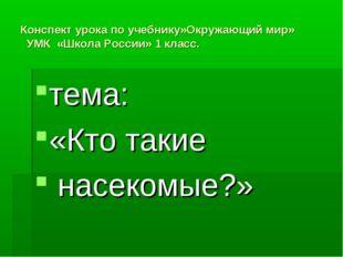 Конспект урока по учебнику»Окружающий мир» УМК «Школа России» 1 класс. тема: