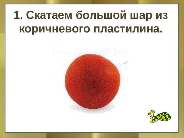 1. Скатаем большой шар из коричневого пластилина.