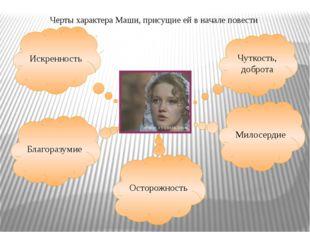 Черты характера Маши, присущие ей в начале повести Искренность Благоразумие О