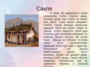 Сакля В горах нет деревьев в таком количестве чтобы строить дома, поэтому дом