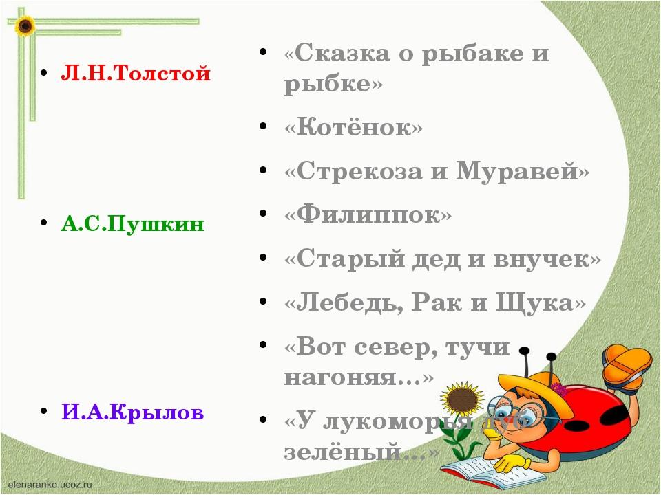 Л.Н.Толстой А.С.Пушкин И.А.Крылов «Сказка о рыбаке и рыбке» «Котёнок» «Стреко...