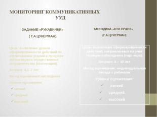 МОНИТОРИНГ КОММУНИКАТИВНЫХ УУД ЗАДАНИЕ «РУКАВИЧКИ» ( Г.А.ЦУКЕРМАН) Цель: выяв