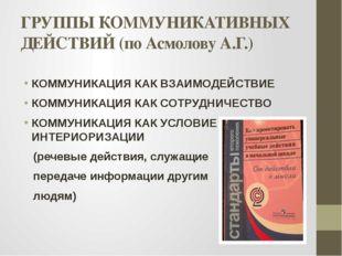 ГРУППЫ КОММУНИКАТИВНЫХ ДЕЙСТВИЙ (по Асмолову А.Г.) КОММУНИКАЦИЯ КАК ВЗАИМОДЕЙ