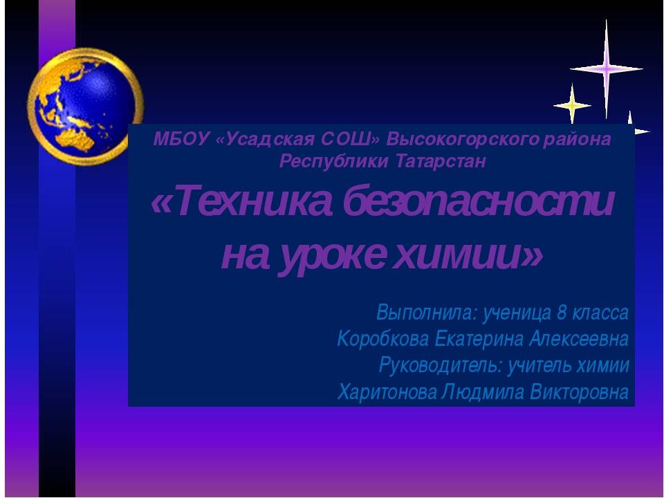 МБОУ «Усадская СОШ» Высокогорского района Республики Татарстан «Техника безо...