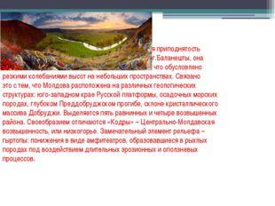 Молдова – равнинно-холмистая страна. Ее средняя приподнятость над уровнем мор