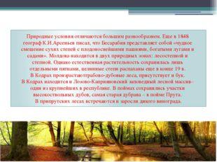Природные условия отличаются большим разнообразием. Еще в 1848 географ К.И.Ар
