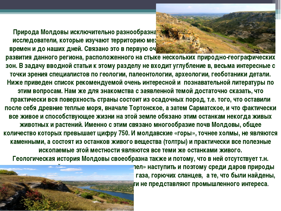 Природа Молдовы исключительно разнообразна и своеобразна, это подчеркивают вс...