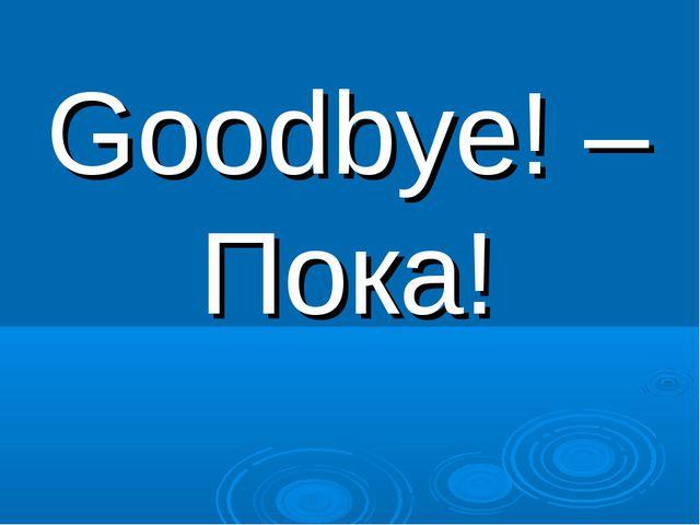 Goodbye! – Пока!