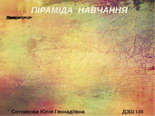 ПІРАМІДА НАВЧАННЯ Сотникова Юлія Геннадіївна ДЗШ I-III ступенів № 98
