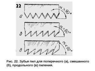 Рис. 22. Зубья пил для поперечного (а), смешанного (б), продольного (в) пил