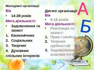 Молодіжні організації Вік 14-28 років Мета діяльності: Задоволення та захист