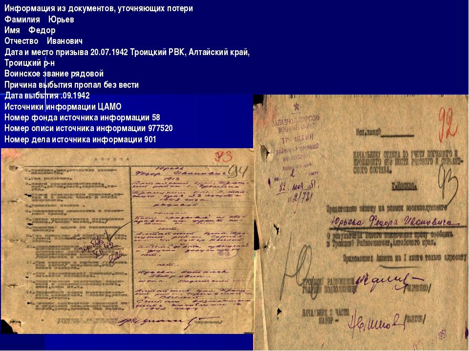 Информация из документов, уточняющих потери Фамилия Юрьев Имя Федор Отчество...