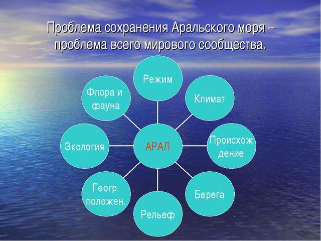 Проблема сохранения Аральского моря – проблема всего мирового сообщества.