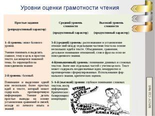 МАОУ СШ №8 Уровни оценки грамотности чтения Простыезадания (репродуктивный ха