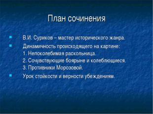 План сочинения В.И. Суриков – мастер исторического жанра. Динамичность происх